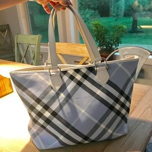 BURBERRY SUPERNOVA CHECK COATED CANVAS LARGE TOTE